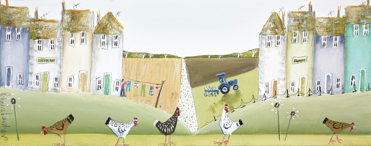 Don't Count Your Chickens II by rebecca lardner -  sized 20x8 inches. Available from Whitewall Galleries